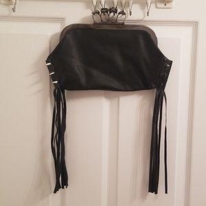 Black fringe brass knuckle skull bag clutch